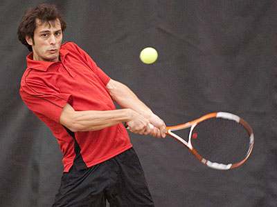 FSU senior Ahmet Demir picked up a win at third doubles (Photo by Ed Hyde)
