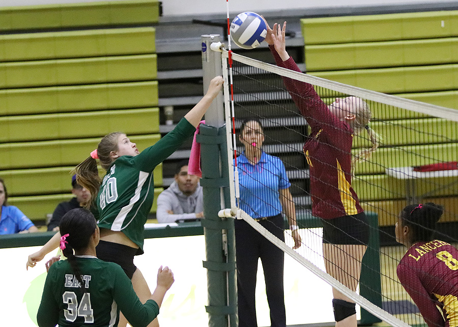 Lancer Abby Martin with the block here during PCC's win at East Los Angeles College Wednesday, photo by Richard Quinton.