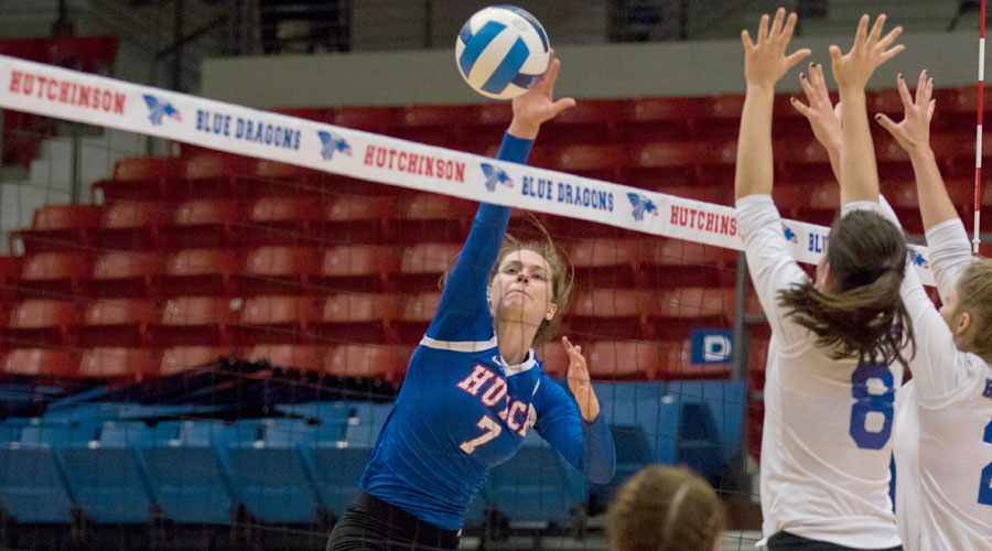 Page Hiebert had two milestone kills among her 13 to lead the Blue Dragon Volleyball team to a sweep of Pratt on Friday at the Sports Arena. (Allie Schweizer/Blue Dragon Sports Information)