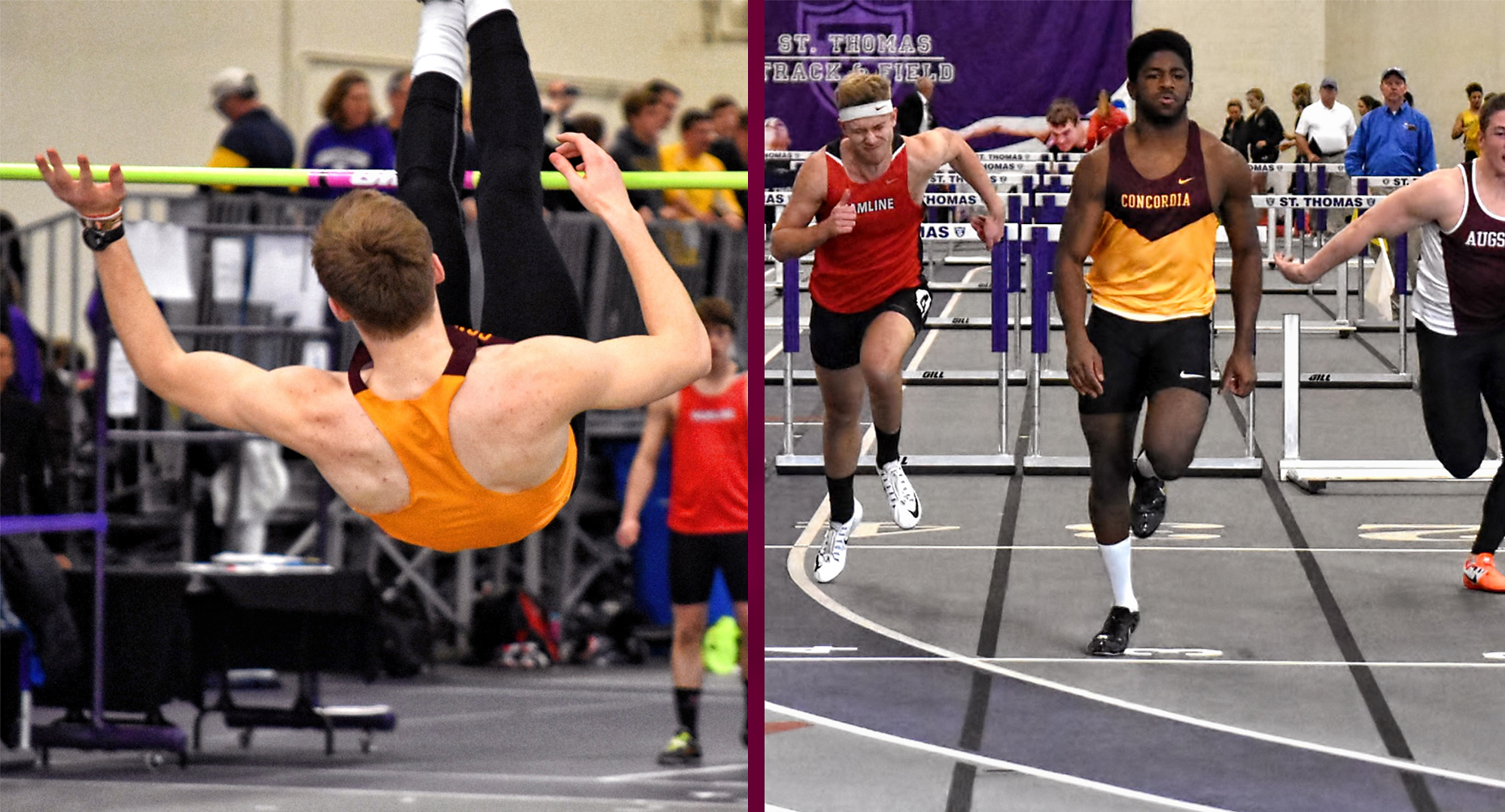 Jackson Schepp (L) broke the school record in the heptathlon and Willie Julkes III broke the 60-meter hurdles school mark on Day 1 at the MIAC Meet. (Photos courtesy of Matt Higgins - MIAC Office)