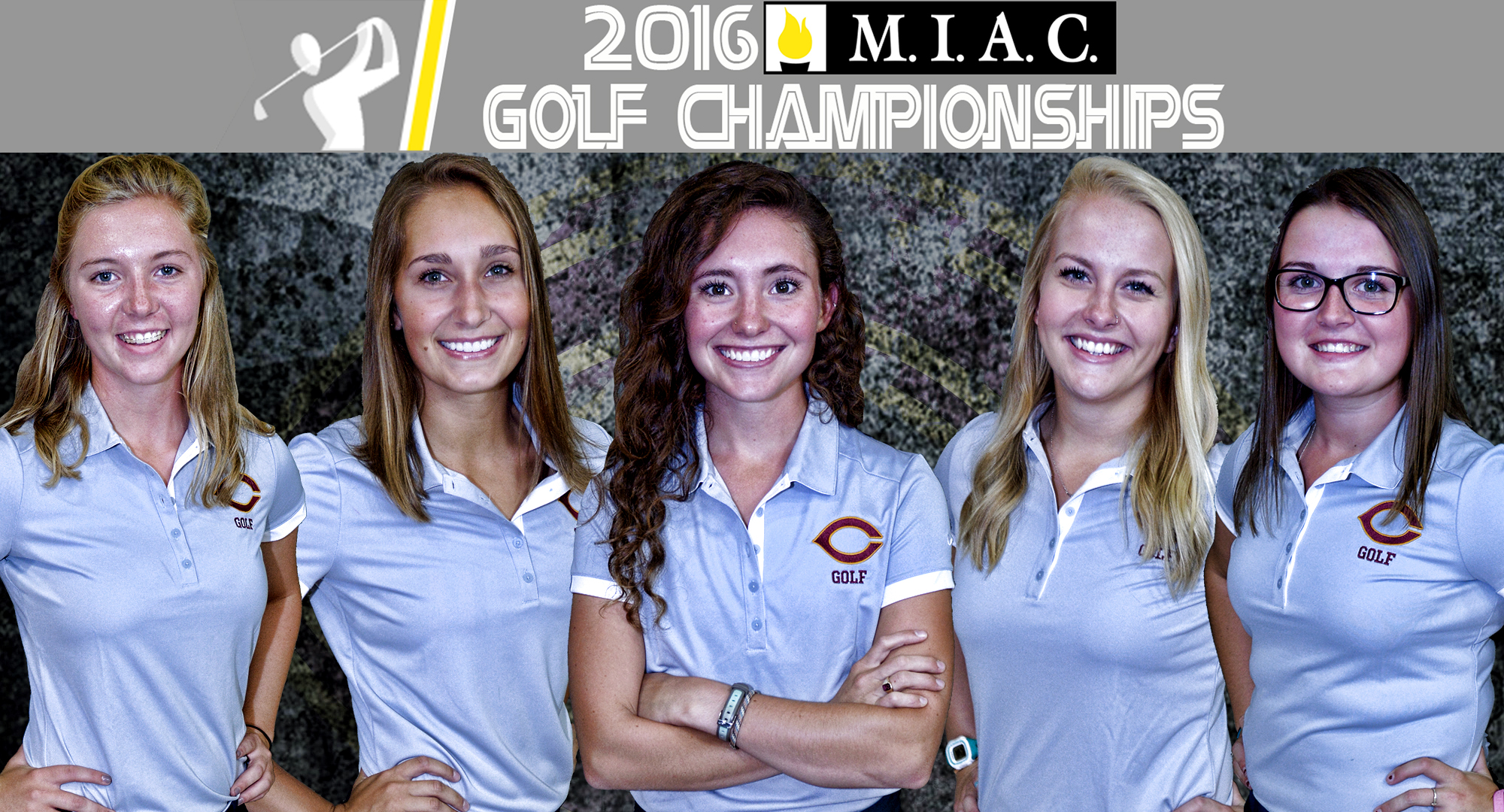 The Concordia lineup for the 2016 MIAC Championship Meet includes (L-R): Katie Froemke, Erin Pennington, Emily Grace Olson, Emily Ladd and Katie Krueger