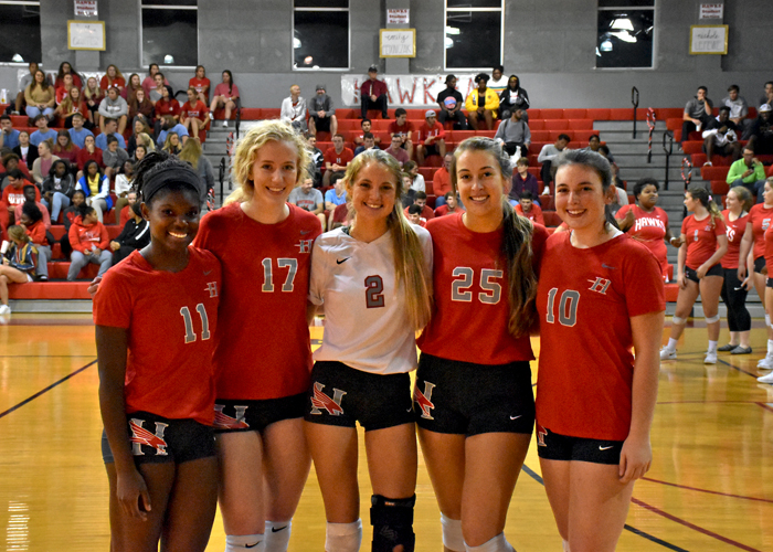 The Huntingdon volleyball team recognized Alex Hillman (#11), Emily Fedonczak (#17), Nichole LeFevre (#2), Alexis Creasman (#25) and Kaitlyn Carter (#10) on Senior Night.