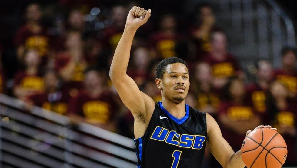 Eric Childress ended his UCSB career on Saturday night at Cal Poly. Childress led the Gauchos to a 57-44 win with 19 points, six assists and three steals. (Photo by Percy Anderson)