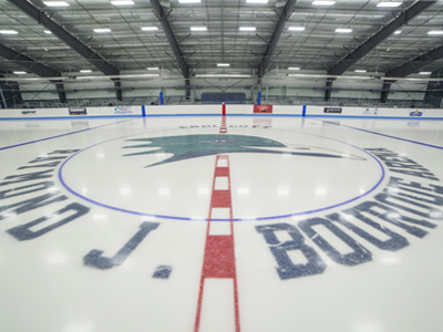Ice-level view of the Raymond J. Bourque Arena surface.