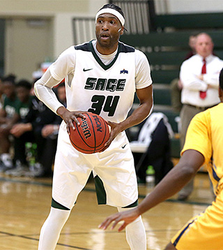 Chris Kidd on the floor against Massachusetts College. (Sage athletics photo)