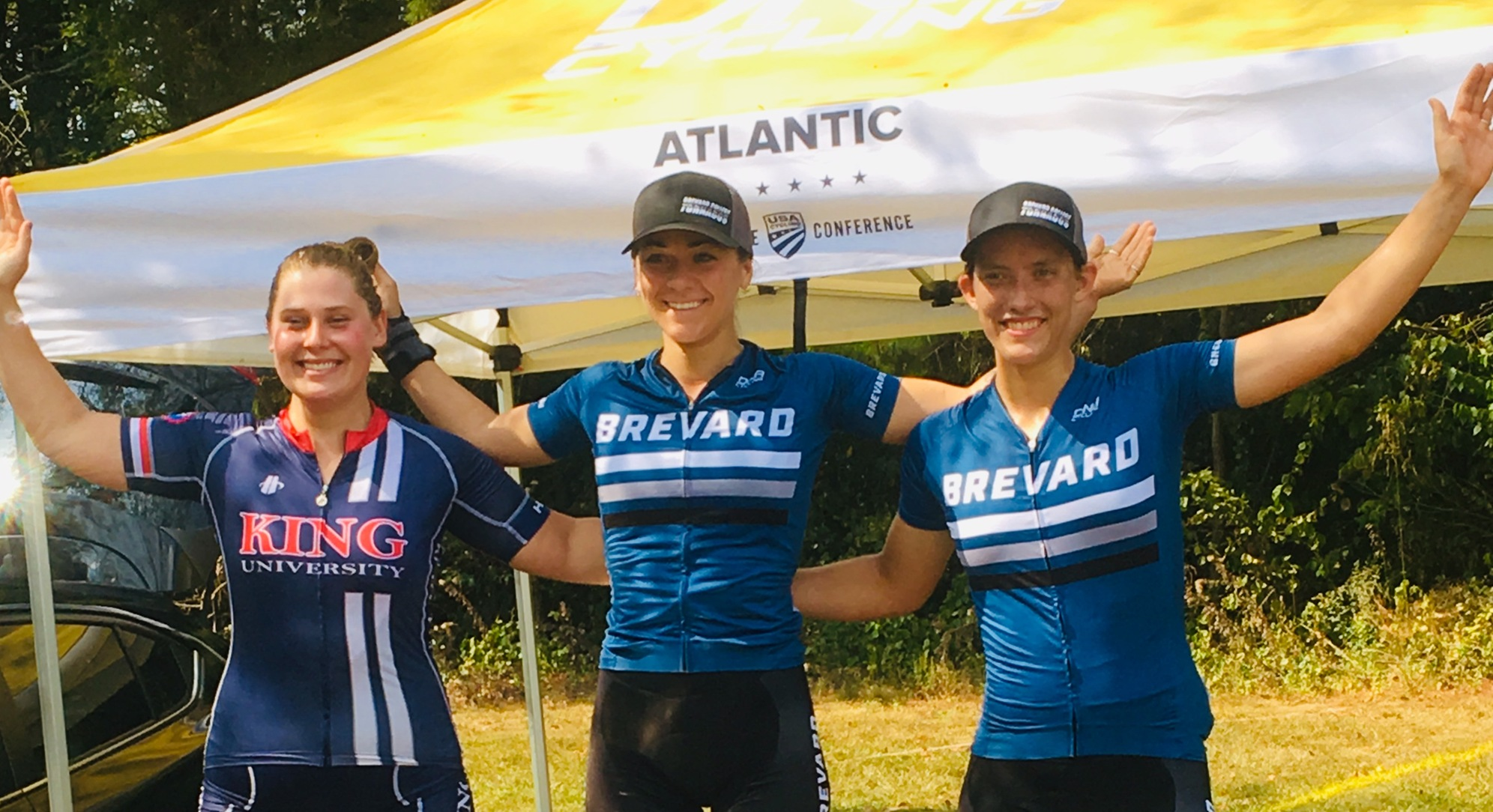 Rachel Pageau and Hannah Arensman of Brevard College on the Women's A Downhill Podium