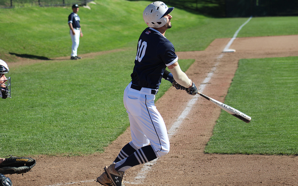 Senior Mike Mittl connects on a double down the right field line versus DeSales University at Gillespie Field.