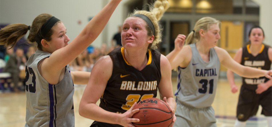 Freshman forward Lilly Edwards led BW with 15 points and nine rebounds in the loss to John Carroll