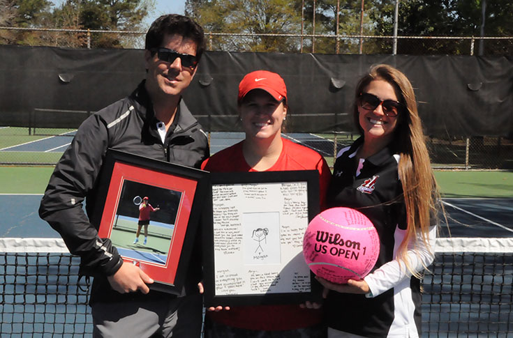 Women's Tennis: Senior Morgan McDonald honored before USA South match against Methodist
