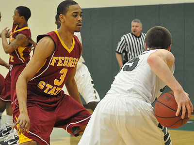 FSU's Brandyn Mungo defends the ball in Thursday's win at Lake Erie (Photo by Rob Bentley)