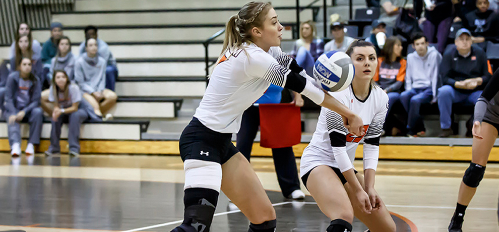Cassie Born recorded 14 kills and 13 digs for the Pioneers in Friday's match with Anderson (photo by Chuck Williams)