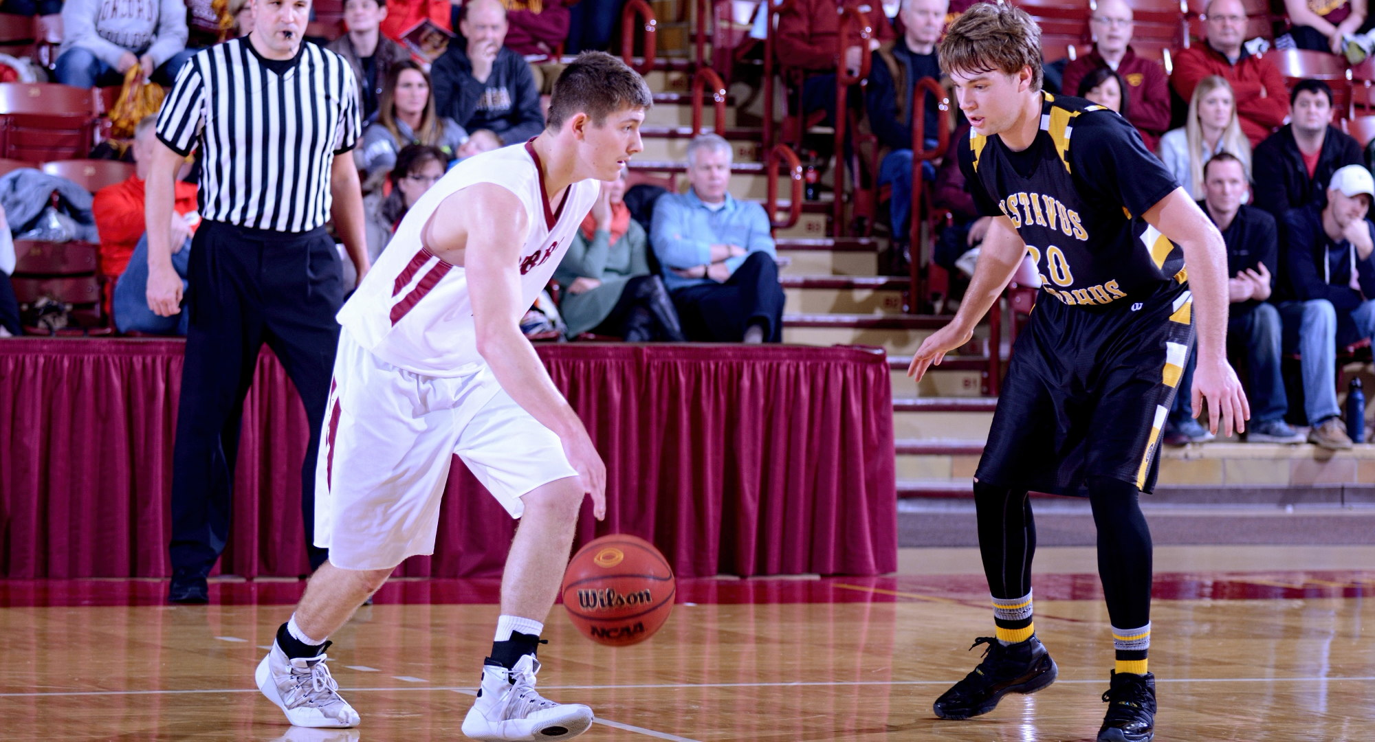 Senior Dylan Alderman had a season-high 22 points in the Cobbers' conference opener at Gustavus.