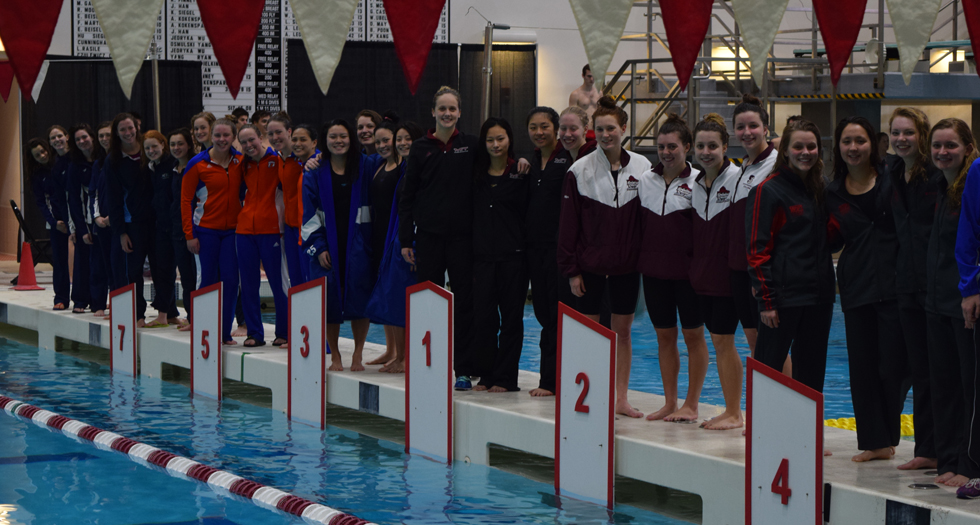 Swimming & Diving Opens NEWMAC Championships in Record-Breaking Fashion