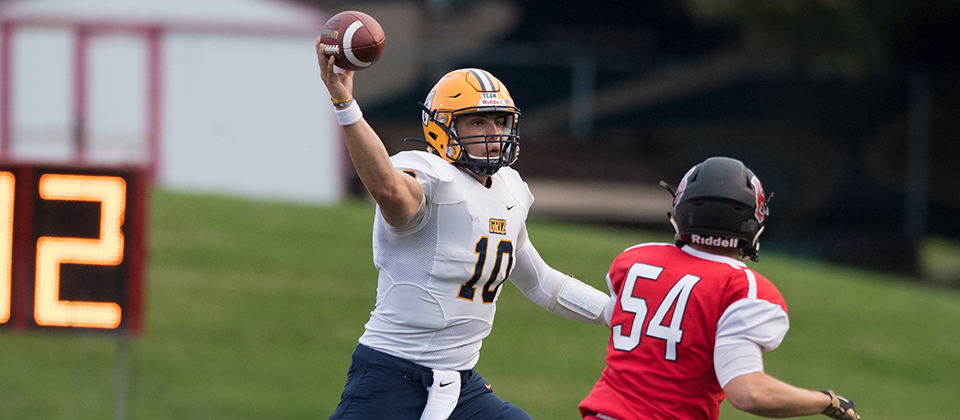 Braden Smith (10) throwing a pass against Benedictine. Photo courtesy of Ralph Greenslade