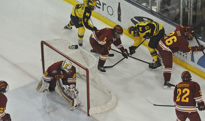 Bulldog Hockey Falls In Series Opener At Michigan