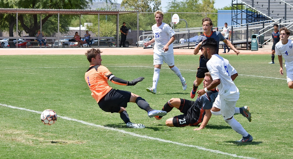 Sophomore Nico Walschburger (#23) scored in the 82nd minute to tie the game and force overtime. The No. 1 ranked Aztecs men's soccer team and No. 14 Salt Lake Community College played to a 1-1 tie on Saturday at Kino North Grandstand. Photo by Ben Carbajal