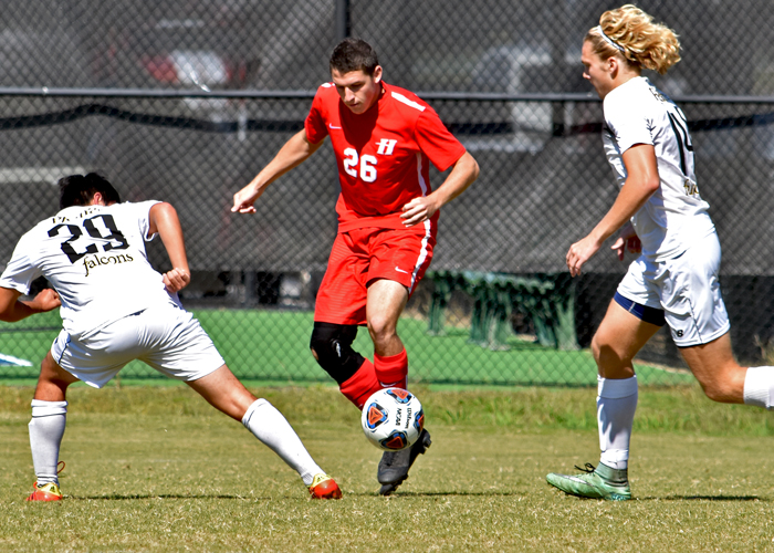 Hunter Hall scored a goal to help force overtime in a 2-1 loss at Averett on Sunday.