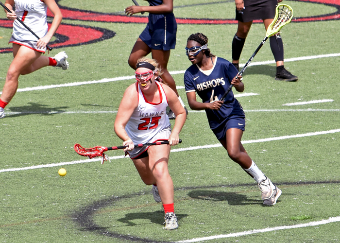 Kaylee Andrews scored two goals in Sunday's loss to Southwestern University.