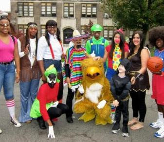 Members of the Felician women's basketball team served, in full Halloween costume, as chaperones and judges at the annual Rutherford Ragamuffin Parade on Sat., Oct., 27, 2012.