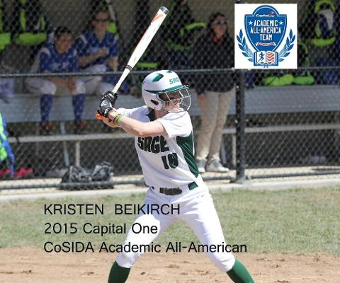 Kristen Beikirch becomes a three-time CoSIDA Academic All-American with release of 2015 team