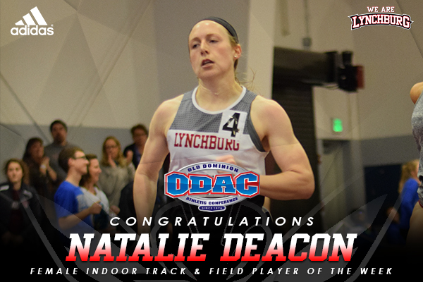 Natalie Deacon running. Text: Congratulations Natalie Deacon | Female Indoor track & field player of the week