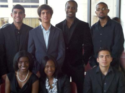 Front Row (L/R):Demia Franklin, Jasmine Smith, Mario Banegas. Back Row (L/R) : Carlos Quiroga, Miguel Uzcategui, Philip Izevbehai, Richard Barrett