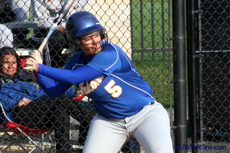 Landherr homers twice, Softball splits doubleheader
