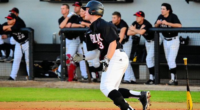 Kyle Jackson had two hits and a stolen base in Polk State's 2-0 loss to Lake-Sumter. (Photo by Tom Hagerty, Polk State.)