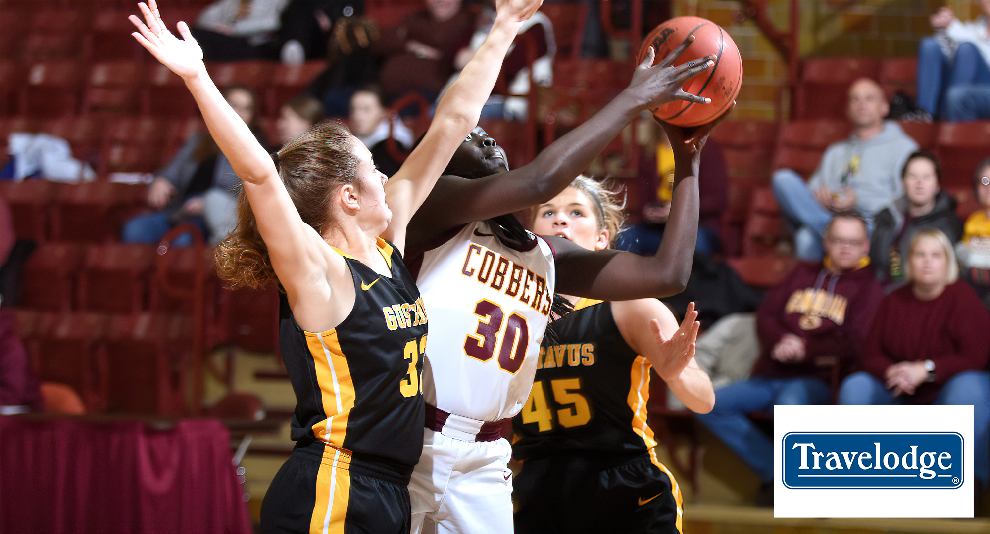 Junior Mary Sem went 6-for-9 from the floor and 9-for-11 from the free throw line and finished with a game-high 21 points in the Cobbers loss at Gustavus (Pic taken in 2019)