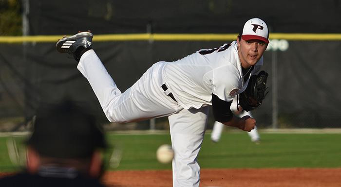 Zak Spivy tossed six shutout innings as the Eagles beat Southeastern University JV 12-1. (Photo by Tom Hagerty, Polk State.)