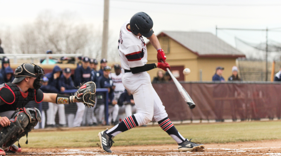 Dylan Nedved had a homer in Game 2 of a Blue Dragon doubleheader sweep of Labette on Tuesday in Pittsburg. (Bre Rogers/Blue Dragon Sports Information)