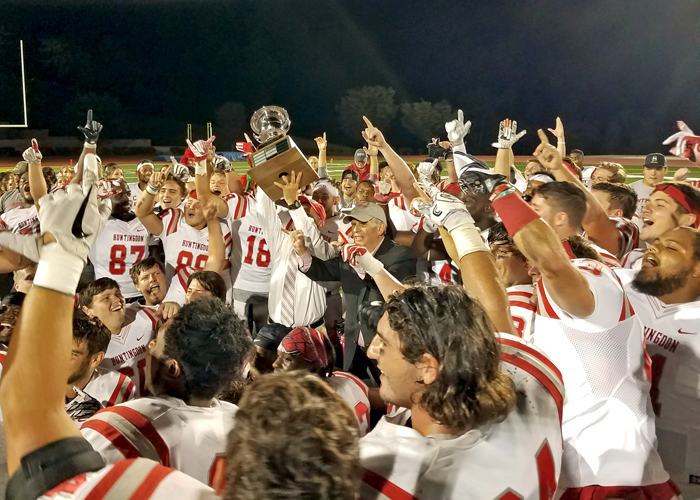 The Huntingdon Hawks rallied from a 17-point deficit to beat Birmingham-Southern 45-38 on Saturday night. This is the second straight season the Hawks have captured the Wesley Cup.