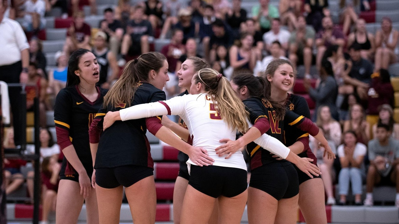 CMS team celebration during the SCIAC Championship match
