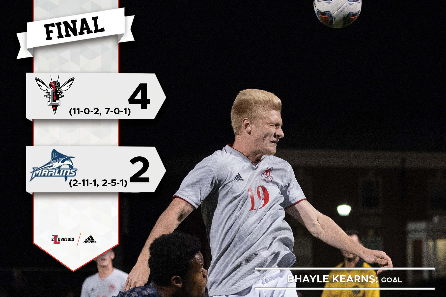 Bhalye Kearns heads a soccer ball. Graphic showing 4-2 final score and team logos.