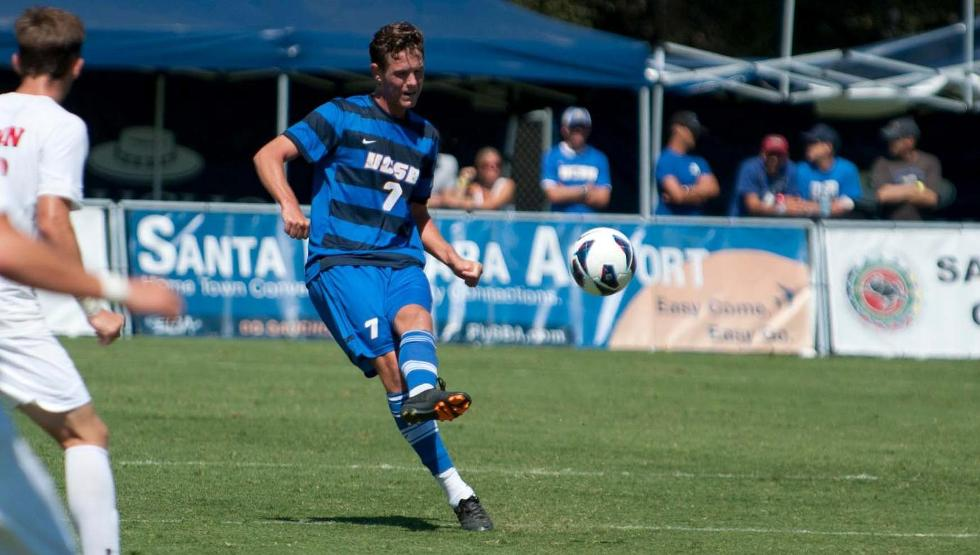 Drew Murphy put UCSB up 1-0 with a penalty kick goal on Sunday evening (photo by Tony Mastres)