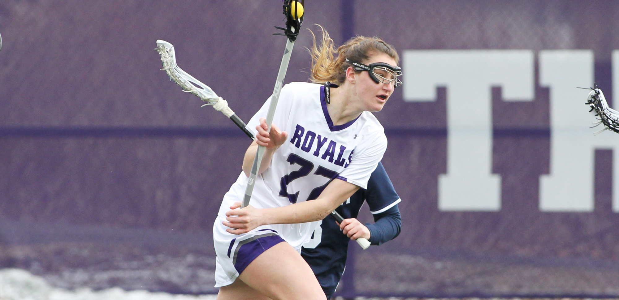 Junior Becca Russo posted game-highs of eight draw controls and five groundballs as Scranton opened conference play with a big win over Susquehanna on Saturday. © Photo by Timothy R. Dougherty / doubleeaglephotography.com
