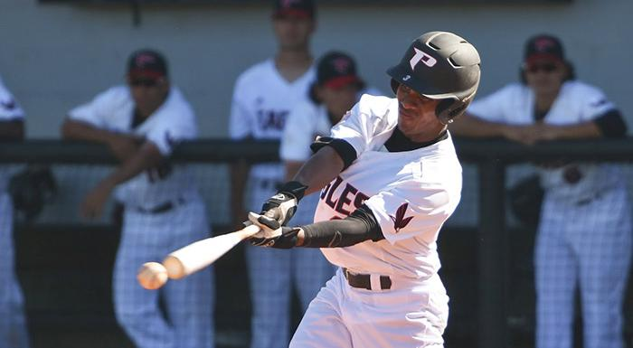 Marquis Orozco doubled and drove in two runs against Hillsborough. (Photo by Tom Hagerty, Polk State.)