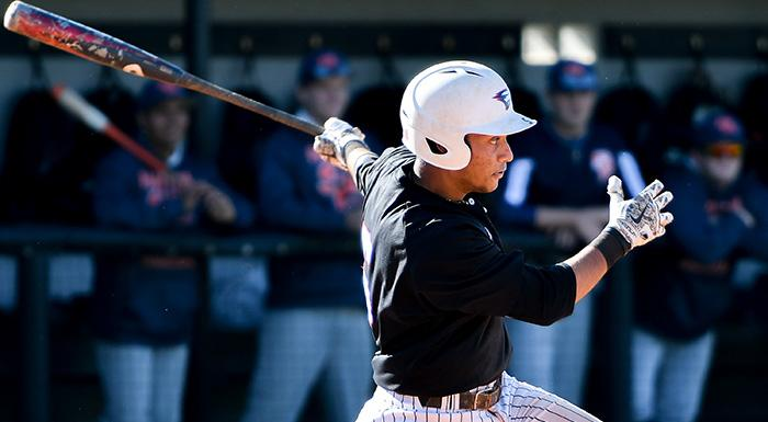 Trent Sinkfield hit two home runs and had three RBI as the Eagles beat the Hawks 8-4. Sinkfield has slugged five homers in the last four games. (Photo by Tom Hagerty, Polk State.)