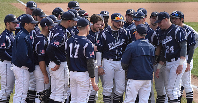 The Greyhounds huddle before a game versus Keystone College in 2018.
