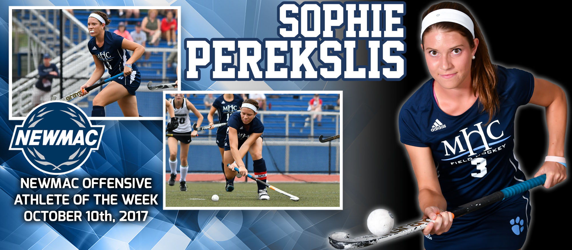 Collage image of field hockey player Sophie Perekslis who was named the NEWMAC Offensive Athlete of the Week for October 10, 2017.