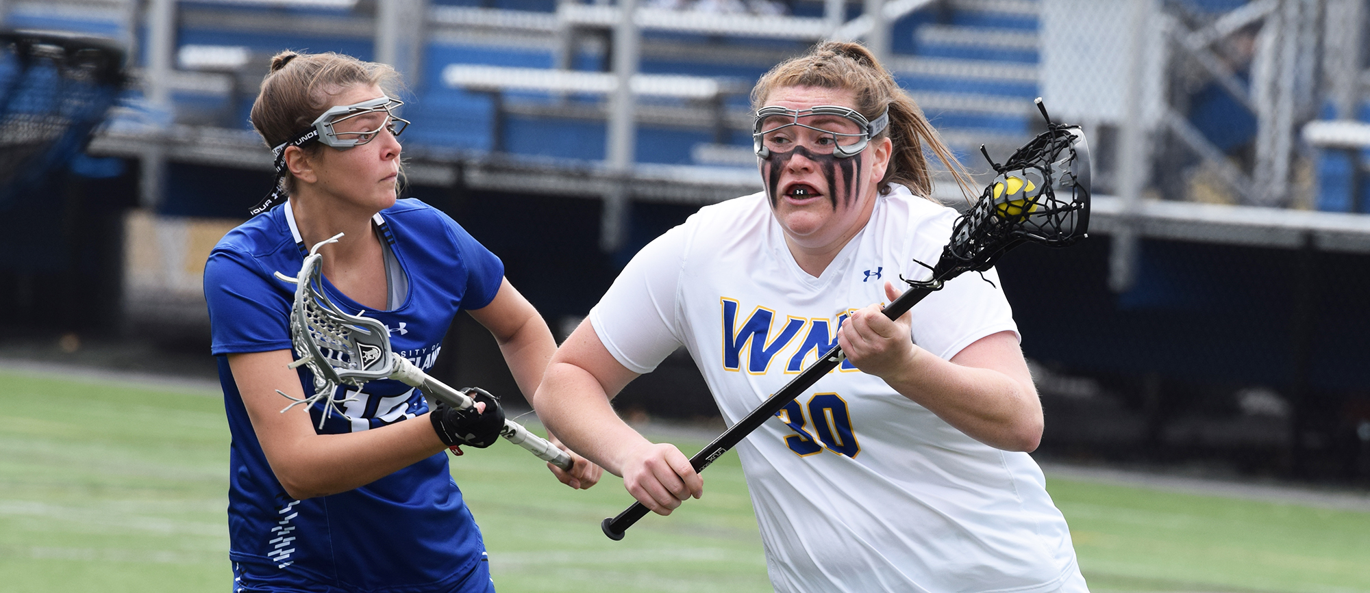 Eileen Ruby recorded two goals and one assist in Western New England's 18-15 loss to UNE on Saturday. (Photo by Rachael Margossian)