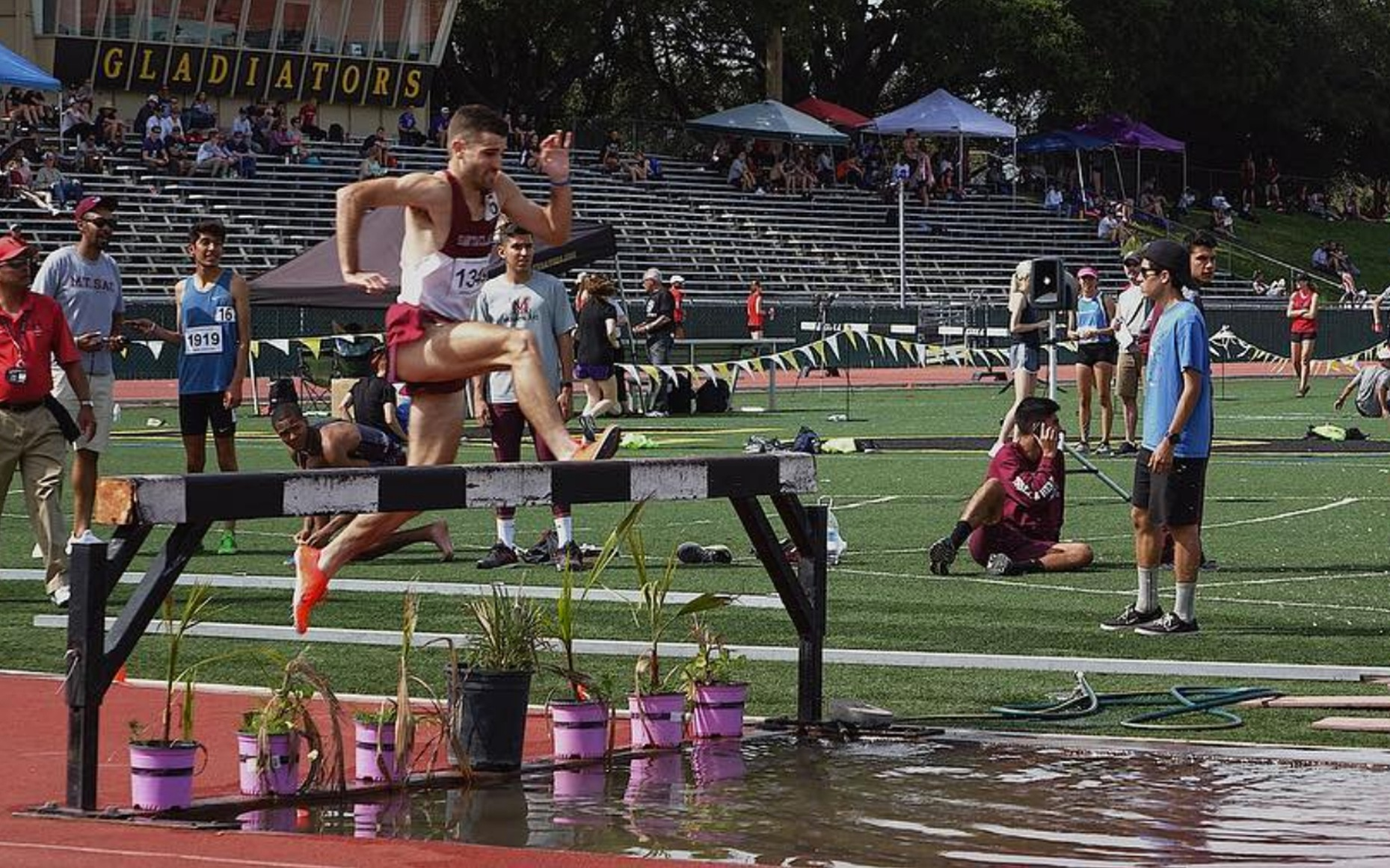 Joey Berriatua bested his own 3,000-meter steeplechase school record by more than eight seconds at Cobb Track and Angell Field on Thursday night.