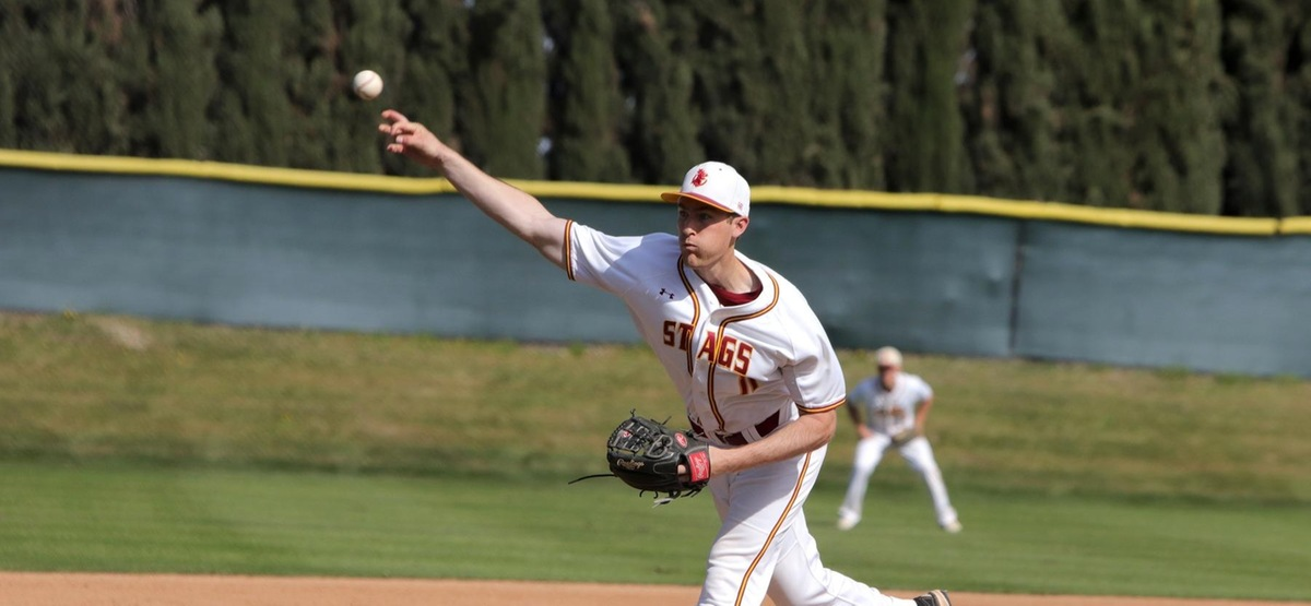 Junior Justin Hull delivered his second straight complete game as the Stags won the opener against Pomona-Pitzer 2-1