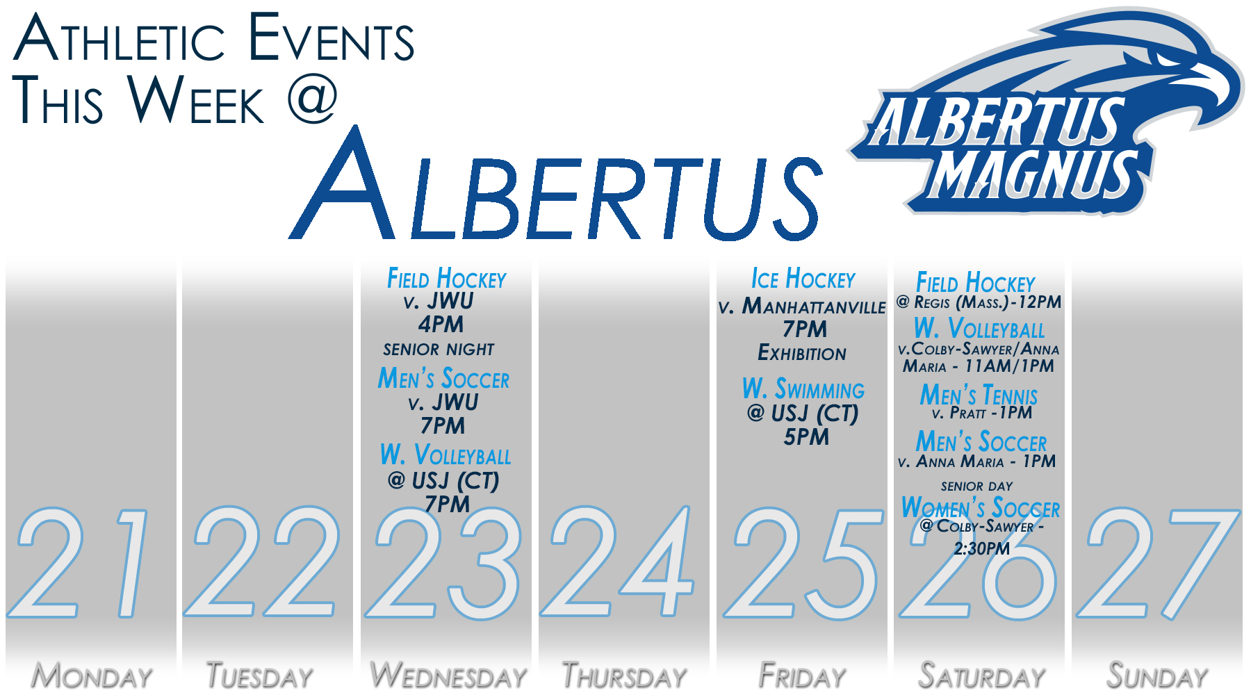 Albertus Magnus Athletics - Weekly Schedule (Oct. 21 - Oct. 27)