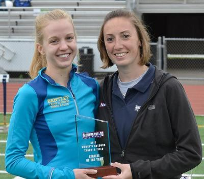 Amy Varsell receives the Athlete of the Year award from NE-10 Associate Commissioner Amy Resnick