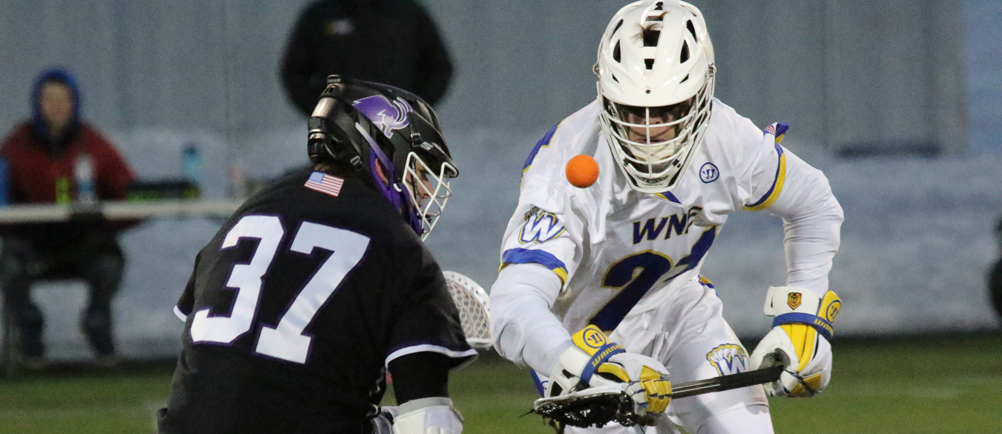 Hunter Cocks was successful on 19-of-30 faceoffs in Western New England's 20-8 loss to Bates on Tuesday night. (Photo by Andrew Shilling)