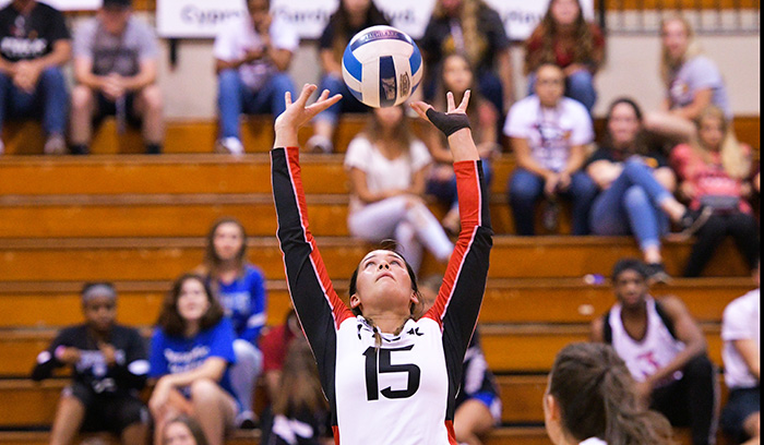 Nicky Pio made 50 assists in two matches as the Eagles went 1-1 in Melbourne. (Photo by Tom Hagerty, Polk State.)