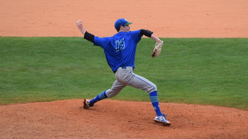 Will Ginsberg threw a four-hit complete-game victory as Salve Regina staved off elimination for the third straight game. (Photo by Ed Habershaw)