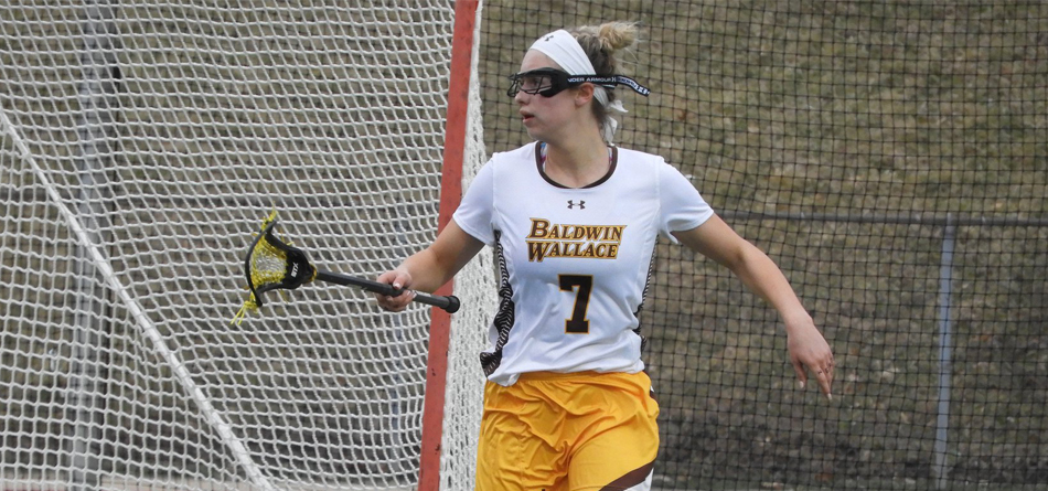 Junior midfielder Savanna Jaekle scored a team-high tying three goals in the loss to Kenyon (Photo courtesy of Lori Moran)
