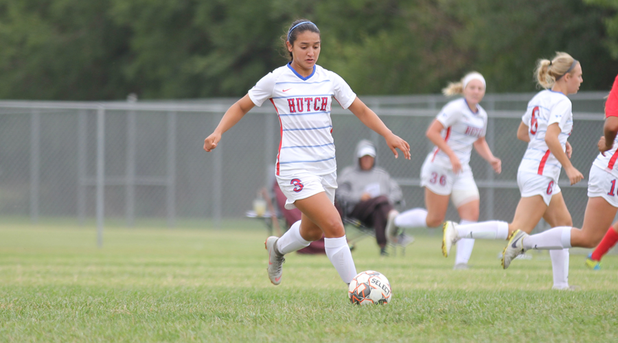 Ashley Venegas had a pair of goals in Hutchinson's 7-0 Jayhawk West victory over Northwest Tech on Saturday at the Salthawk Sports Complex. (Bre Rogers/Blue Dragon Sports Information)